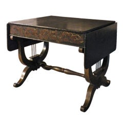 English Sofa Table with Black Chinoiserie Decoration