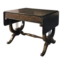 English 19th Century late Regency Sofa Table with Black Chinoiserie Decoration