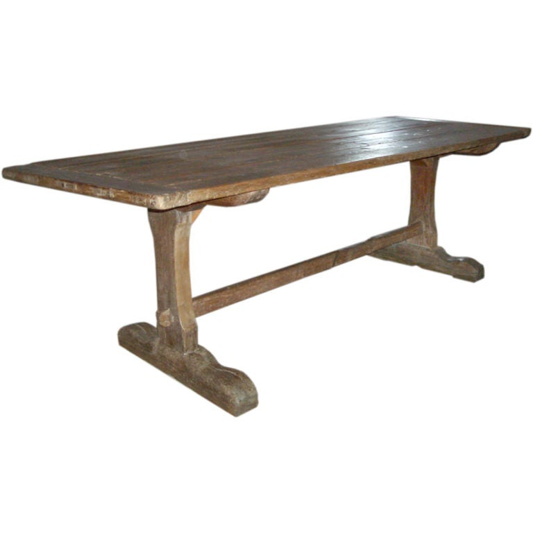 18th Century early American Rustic Pine Trestle Table For Sale