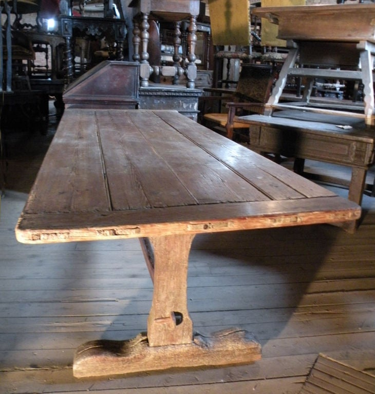 Early American Dining Room Furniture: Early American Rustic Trestle Table At 1stdibs