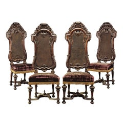 Set of Four 17th century English William & Mary Walnut Chairs