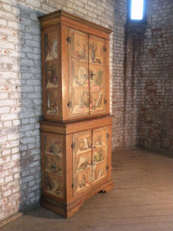Italian 19th Century Neoclassical Trompe L'oeil Painted Cabinet In Good Condition For Sale In Troy, NY