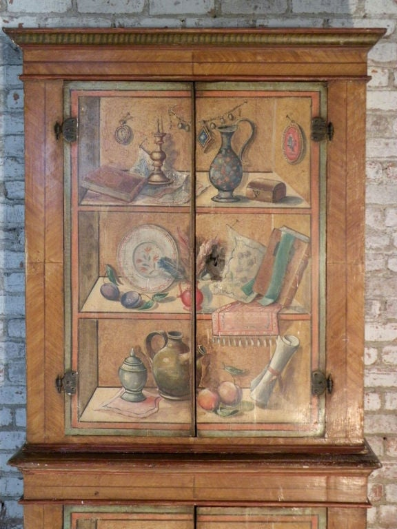 Pine Italian 19th Century Neoclassical Trompe L'oeil Painted Cabinet For Sale