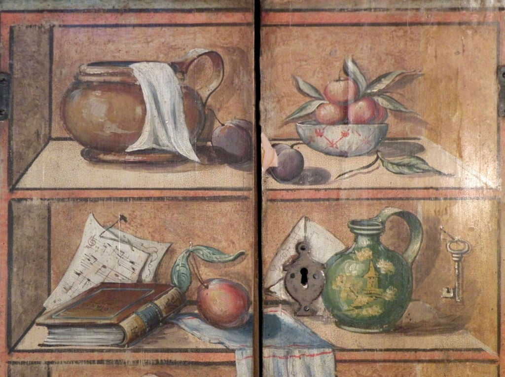 Italian 19th Century Neoclassical Trompe L'oeil Painted Cabinet For Sale 2