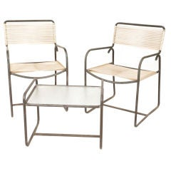 Walter Lamb Bronze  Arm Chairs and Side Table