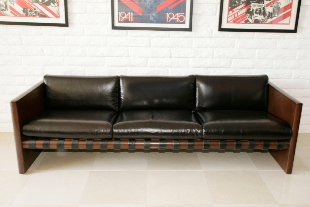 Cantilevered Walnut Leather and Iron Sling Sofa 2
