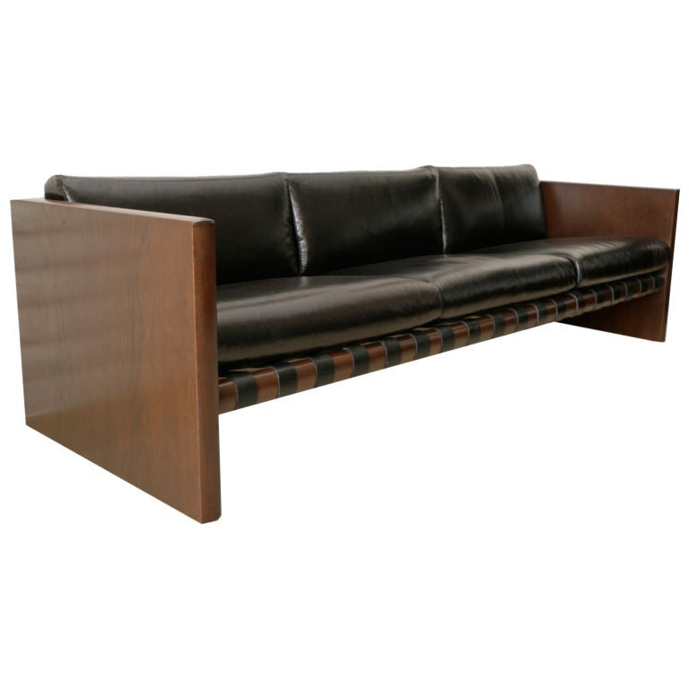 Cantilevered Walnut Leather and Iron Sling Sofa 1