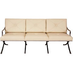 Polished Aluminum & Leather Regency Sofa