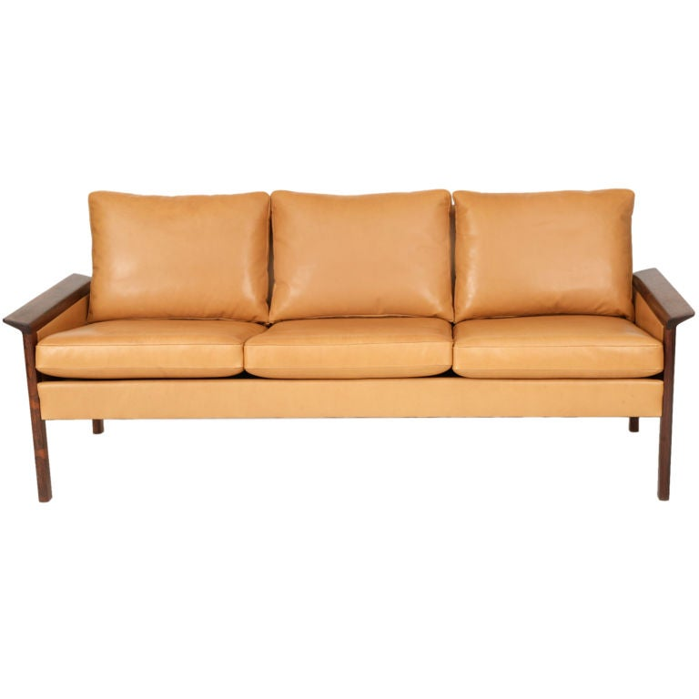 Rosewood And Leather Sofa By Hans Olsen At 1stdibs