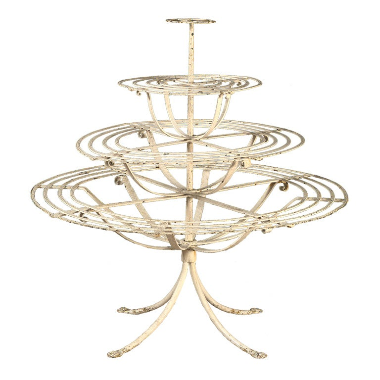 Four tiered circular plant stand at 1stdibs - Tiered metal plant stand ...