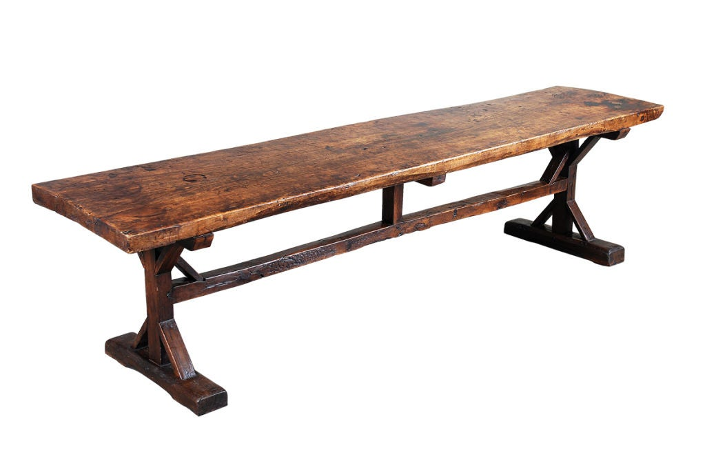 A 10 Long Elm Trestle Table At 1stdibs