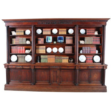 Carved Mahogany Bookcase with Twist-Reeded Columns