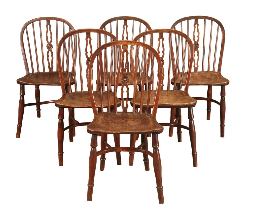 Set Of Six Yew Wood And Elm Windsor Side Chairs At 1stdibs