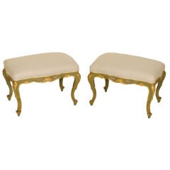 Pair of Louis XV painted and partial gilt benches