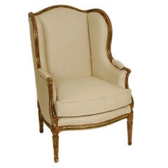 Louis XVl gilt wood and painted winged bergere, late 19th centur