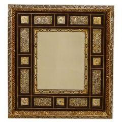 Moorish or Syrian mother of pearl and bone inlaid mirror