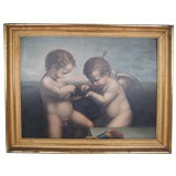 19th c., Oil Painting of Putti