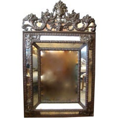 19th c., Brass Repousse Mirror