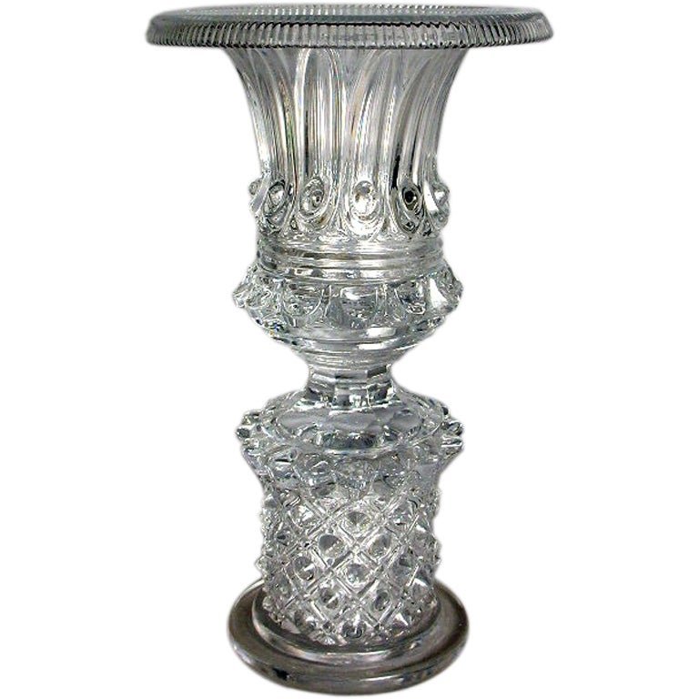 fine molded and cut crystal vase at 1stdibs
