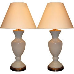 Pair of Italian Milk Glass Lamps.