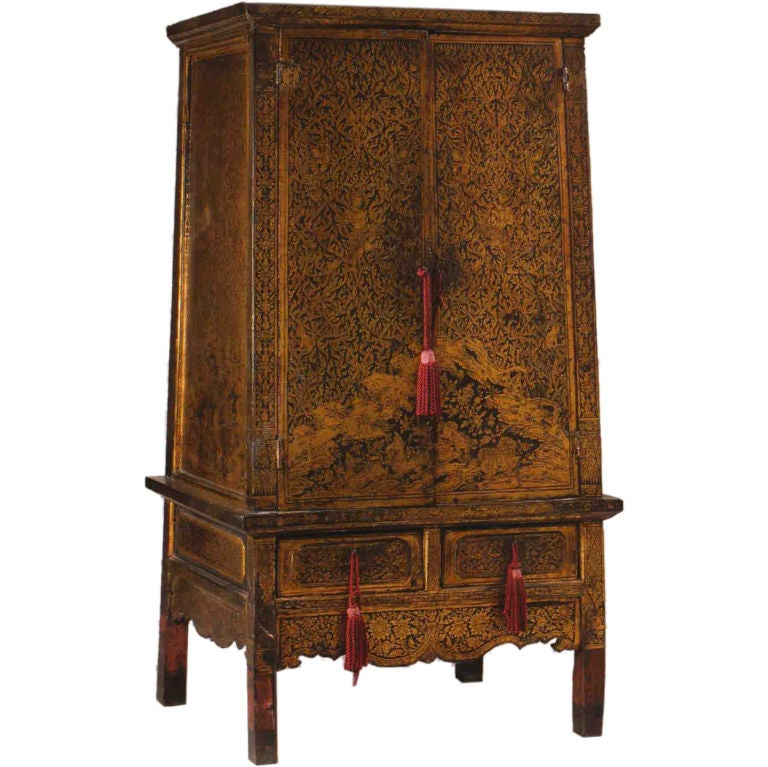 Fine thai black lacquer manuscript cabinet at 1stdibs for Thai furniture