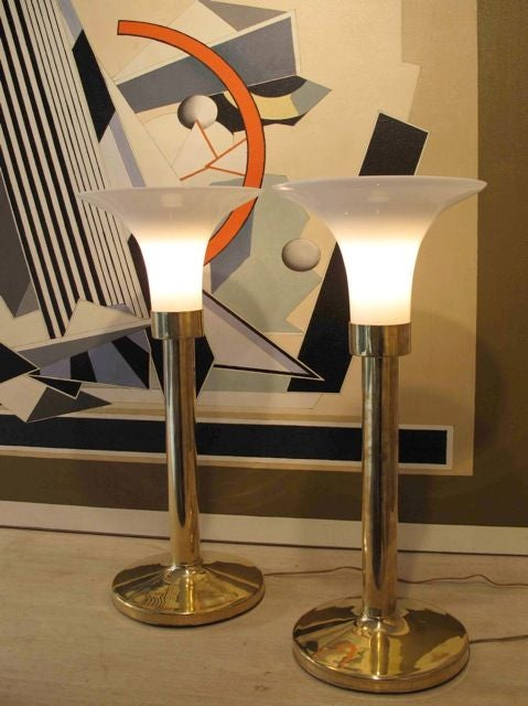 pair of brass touch lamps for sale at 1stdibs. Black Bedroom Furniture Sets. Home Design Ideas