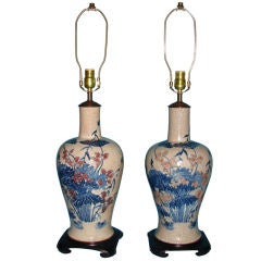Large Chinese Blue Vases as Lamps