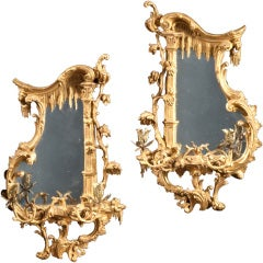 A Pair Of Carved Giltwood Rococo Girandoles