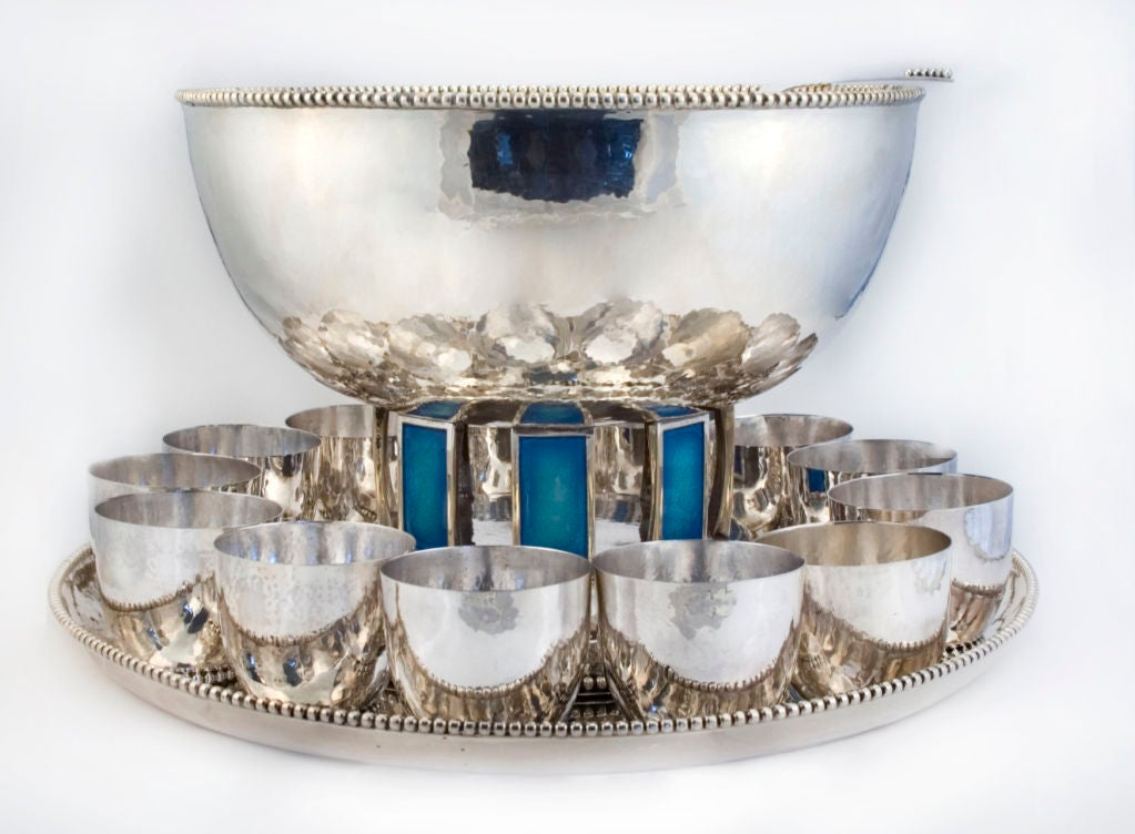 CARTIER ONC (1 of 10)  Punch Bowl Set Sterling Silver w/ 12 Cups Enamelled 1969 2