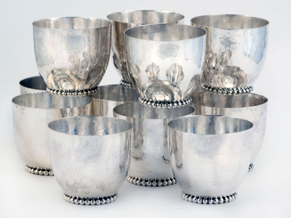 CARTIER ONC (1 of 10)  Punch Bowl Set Sterling Silver w/ 12 Cups Enamelled 1969 4