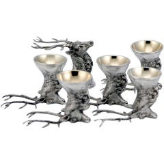 19th C Russian Stag Elk Deer Motif Drinking Shot Cups