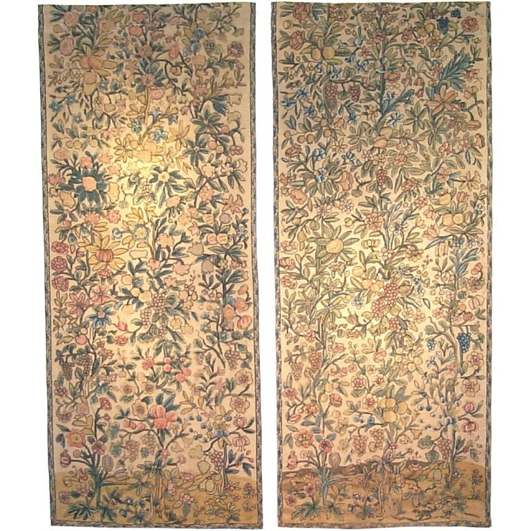 French Silk Needlepoint Panels