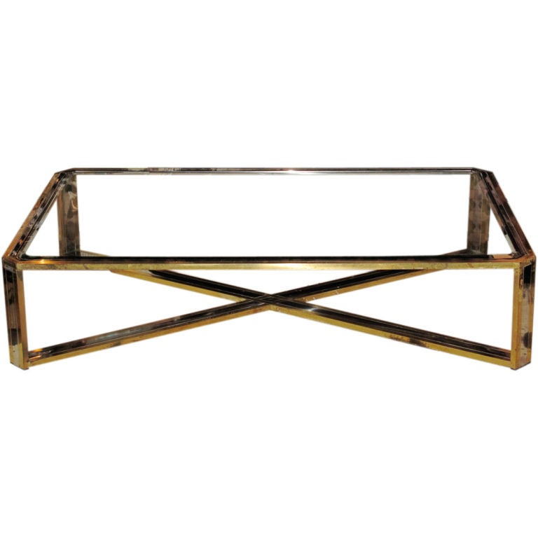 Vintage brass chrome and glass extra large coffee table at 1stdibs Large glass coffee table