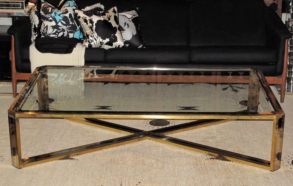 vintage brass chrome and glass extra large coffee table