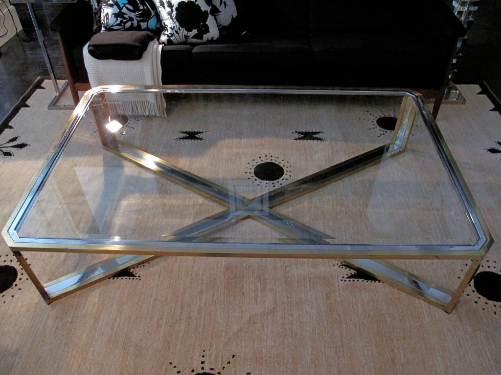 vintage brass chrome and glass extra large coffee table at 1stdibs. Black Bedroom Furniture Sets. Home Design Ideas