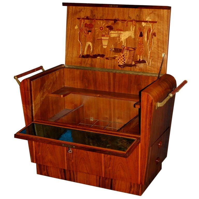 Vintage art deco moderne intarsia cabinet cart at 1stdibs for Moderne deco