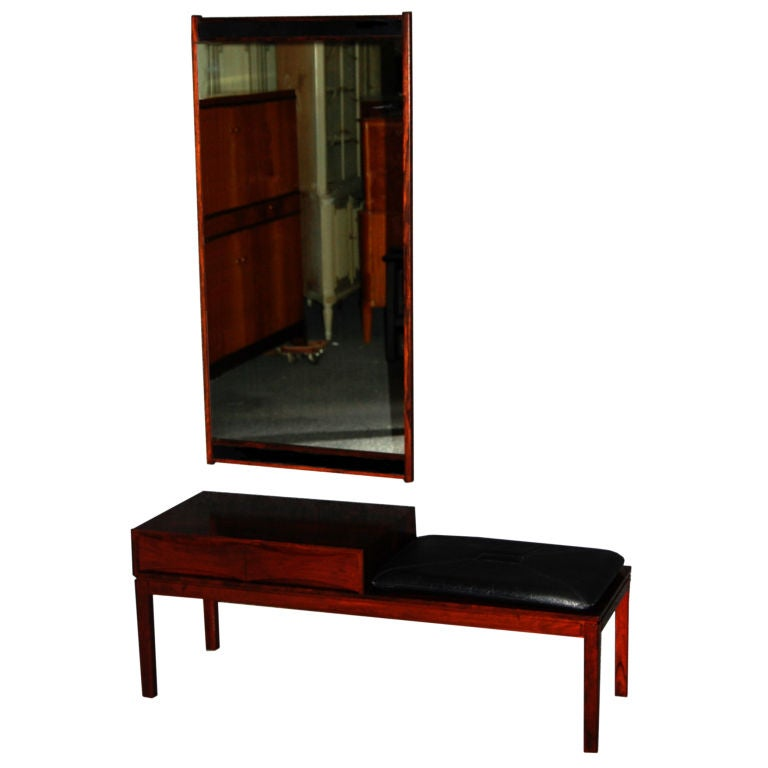 Modern Foyer Bench : Danish modern foyer console bench and mirror by borge