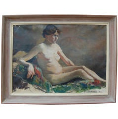 Vintage Swedish Nude Oil Painting by Helge Frender c. 1936