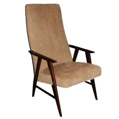 Vintage Swedish Modern Chenille Lounge Armchair