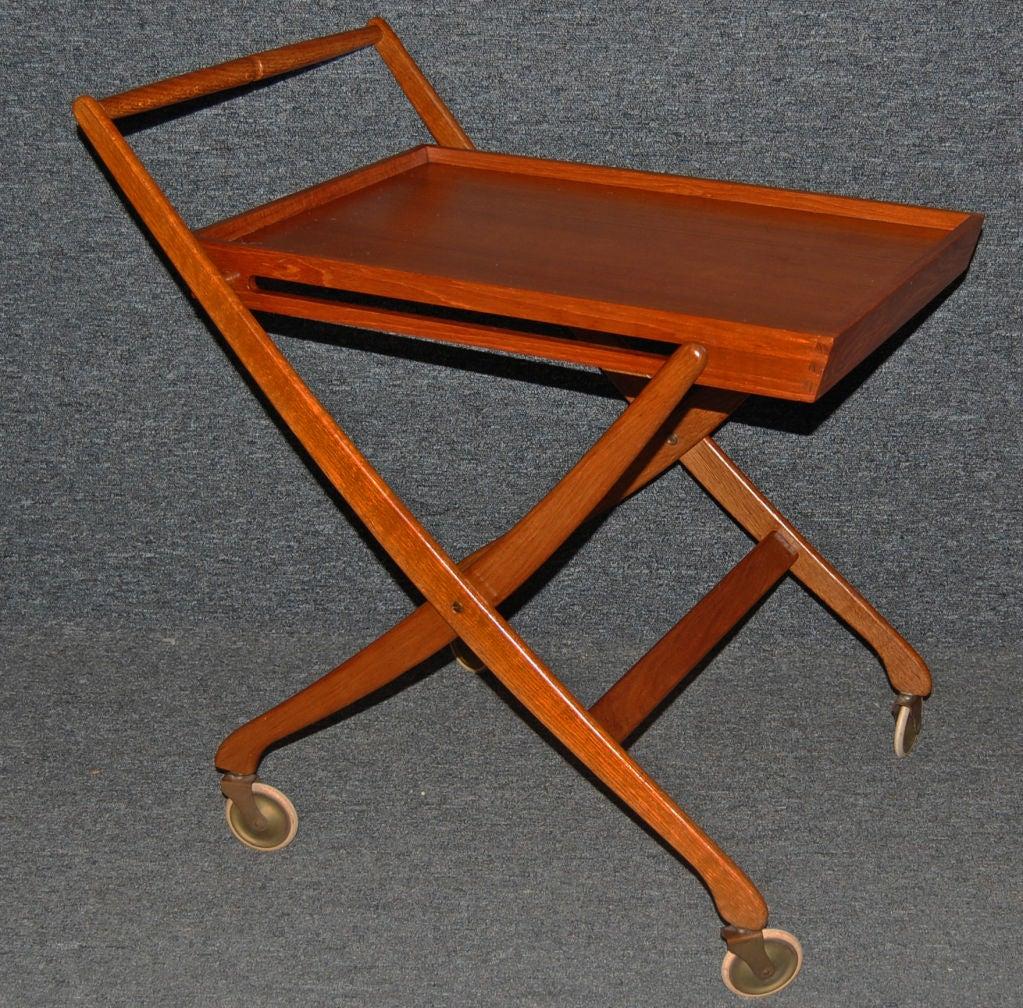 Danish Modern Teak Folding Bar Drink Serving Tray Table