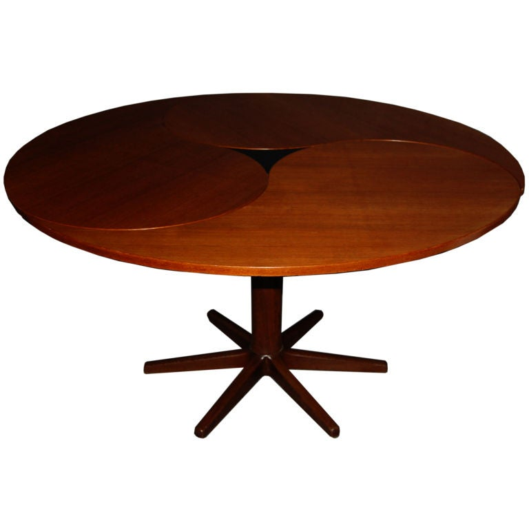 Danish Mid Century Modern Yin Yang Teak Round Oval Dining Table For Sale