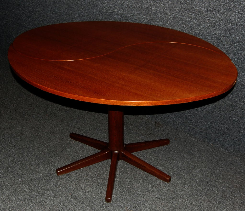 danish mid century modern yin yang teak round oval dining table image