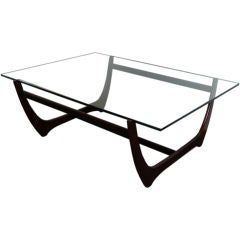 Danish Modern Jacaranda and Glass Coffee Table by Børge Mogensen