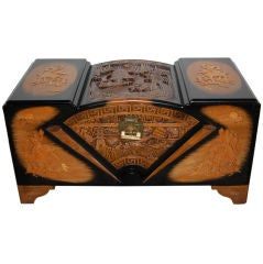 Chinese Art Deco Carved Camphor, Lacquer and Cedar Trunk Chest