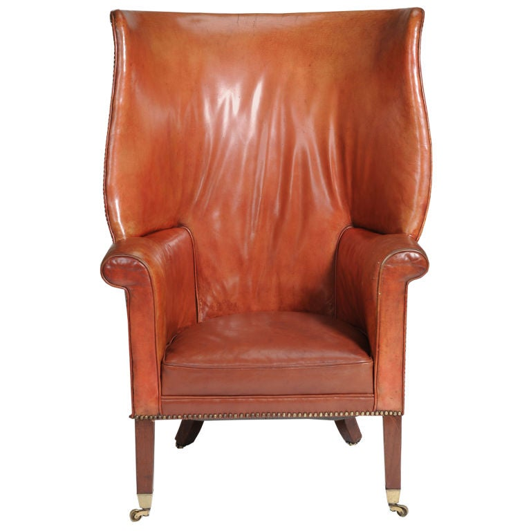 High Back Leather Wing Chair At 1stdibs