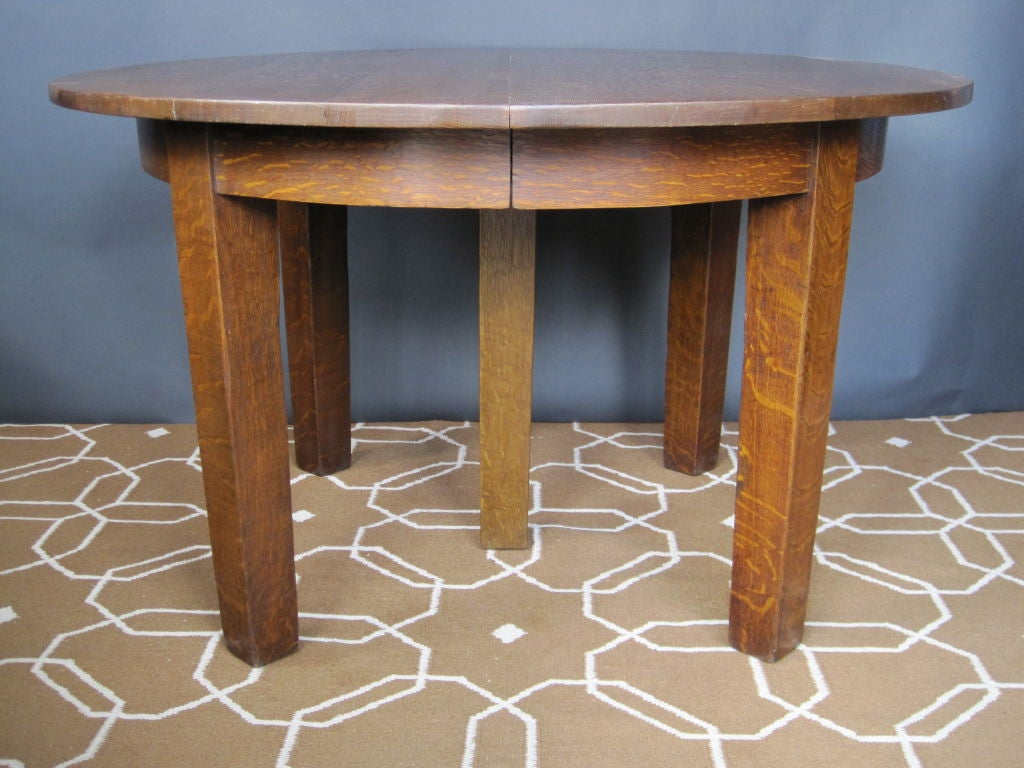 Mission Oak Round Dining Table By Gustav Stickley At