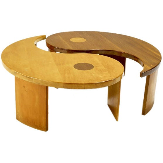 yin-yang two section coffee table at 1stdibs
