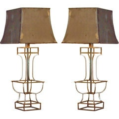 Pair of Metal Lamps and matching Metal Shades