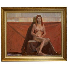 Classic Oil Painting of a Seated Female Nude