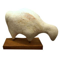 Carved Stone Sculpture of a Sheep Grazing